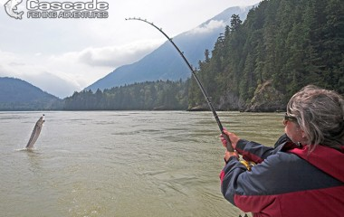 Sue Fishing for white sturgeon on Fraser river